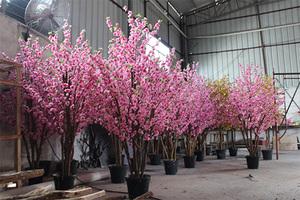仿真桃花树盆景