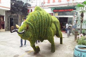 牛造型仿真绿雕